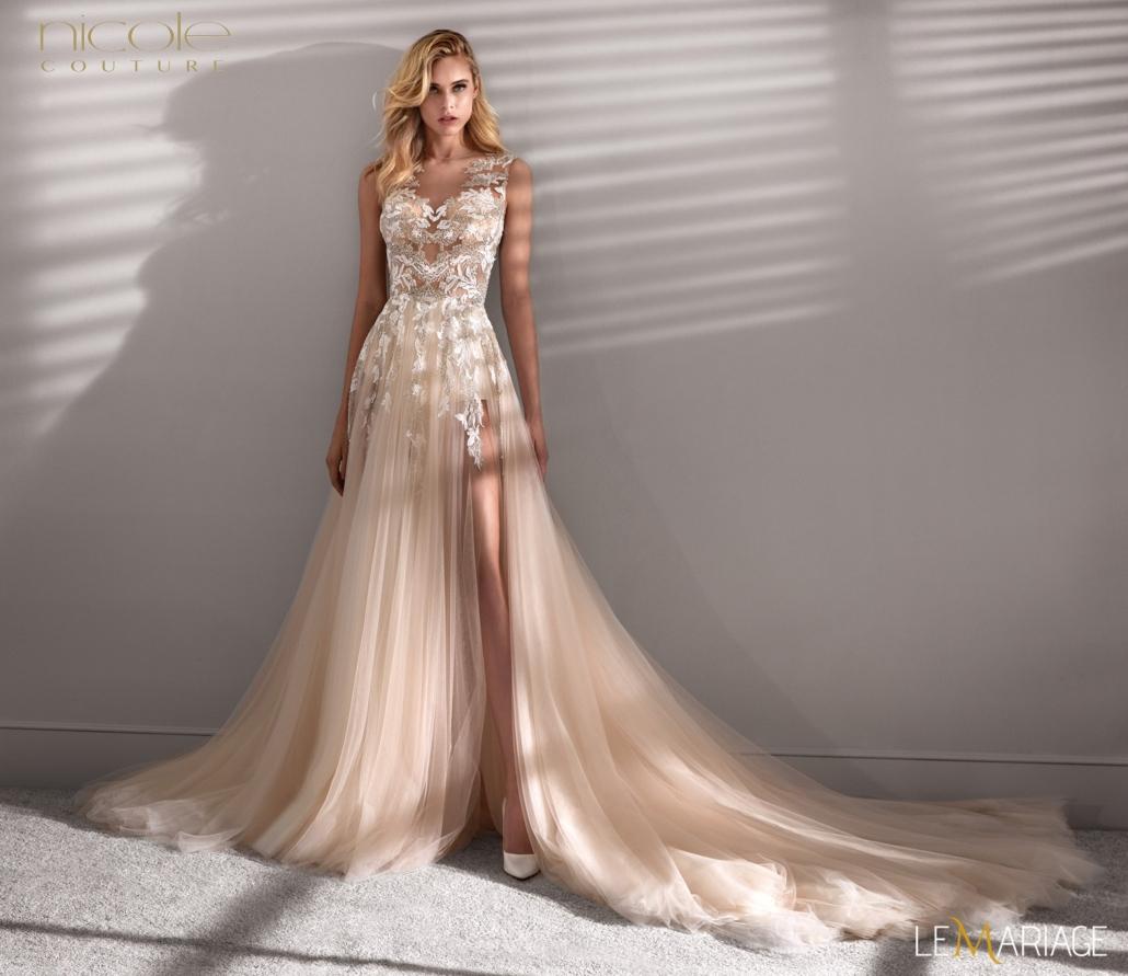 abito da sposa color rosa cipria